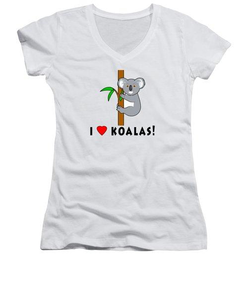 I Love Koalas Women's V-Neck T-Shirt (Junior Cut) by A