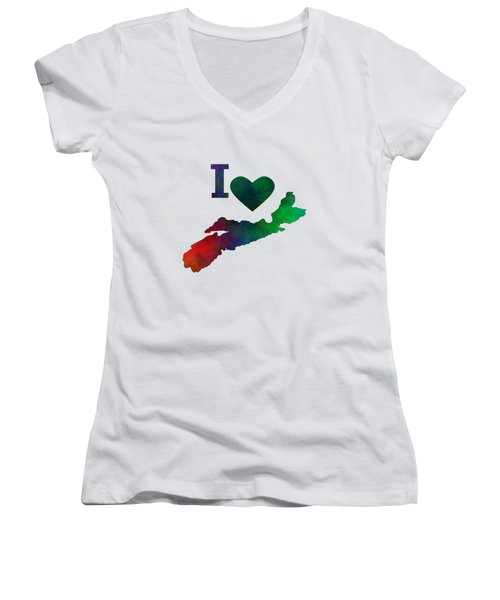 I Love Nova Scotia Women's V-Neck T-Shirt (Junior Cut) by Kathleen Sartoris