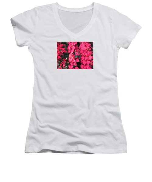 I Love Poinsettias Women's V-Neck T-Shirt (Junior Cut) by Kay Gilley