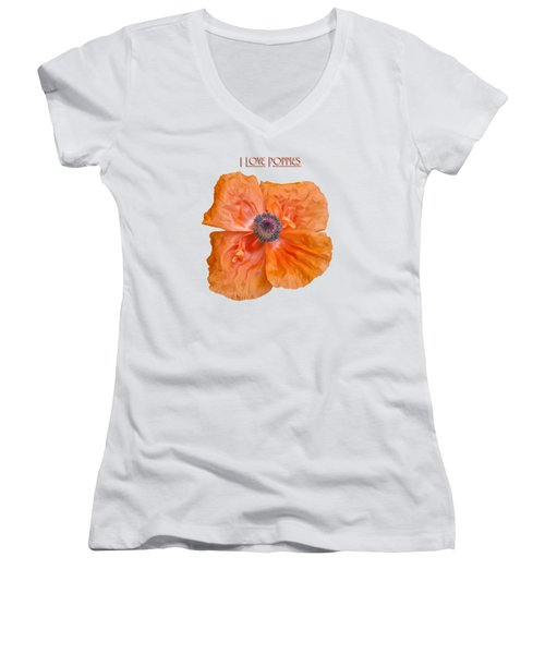 I Love Poppies Women's V-Neck T-Shirt (Junior Cut) by Thomas Young