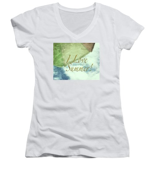 Women's V-Neck T-Shirt (Junior Cut) featuring the photograph I Love Summer I by Marianne Campolongo