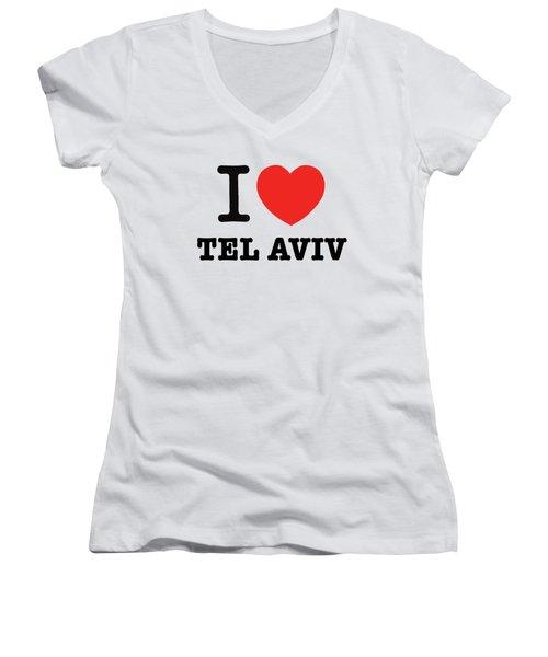 Women's V-Neck T-Shirt (Junior Cut) featuring the photograph i love Tel Aviv by Ron Shoshani