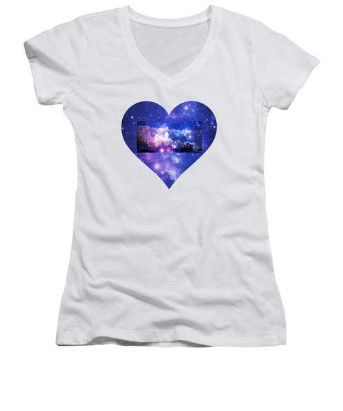 Women's V-Neck T-Shirt (Junior Cut) featuring the photograph I Love The Night Sky by Leanne Seymour