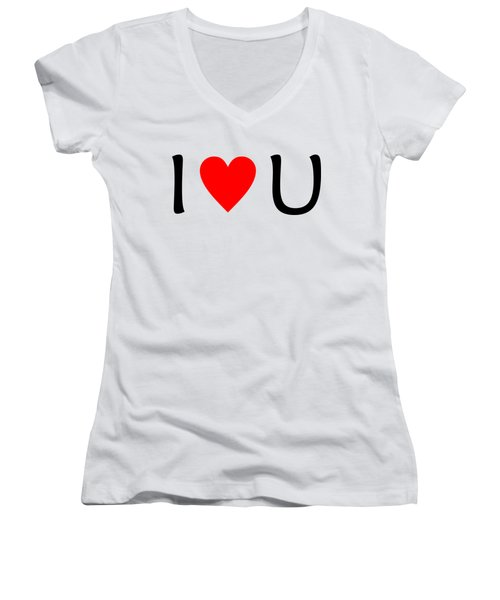 I Love You T-shirt Women's V-Neck T-Shirt (Junior Cut) by Isam Awad