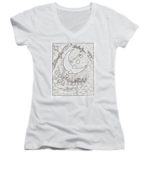 I Love You To The Moon And Back Women's V-Neck T-Shirt (Junior Cut) by Wendy Coulson