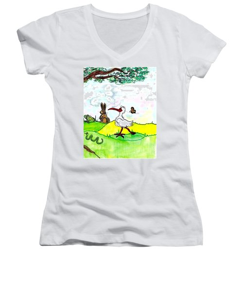 Ibis And Friends Listening Women's V-Neck T-Shirt (Junior Cut)