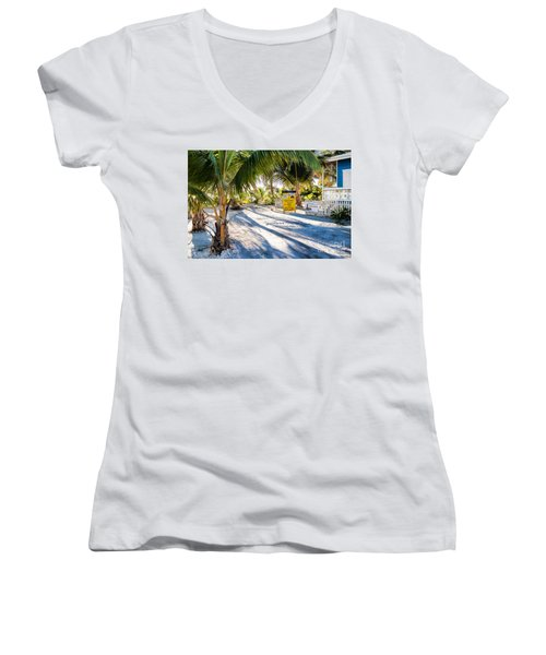 Women's V-Neck T-Shirt (Junior Cut) featuring the photograph Ice Beans by Lawrence Burry