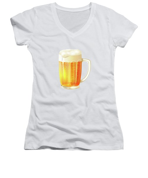 Ice Cold Beer Pattern Women's V-Neck T-Shirt (Junior Cut) by Little Bunny Sunshine