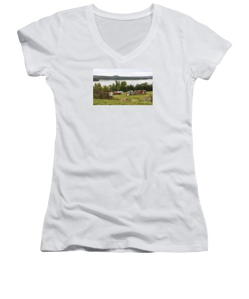 Ice Houses In Vermont Women's V-Neck