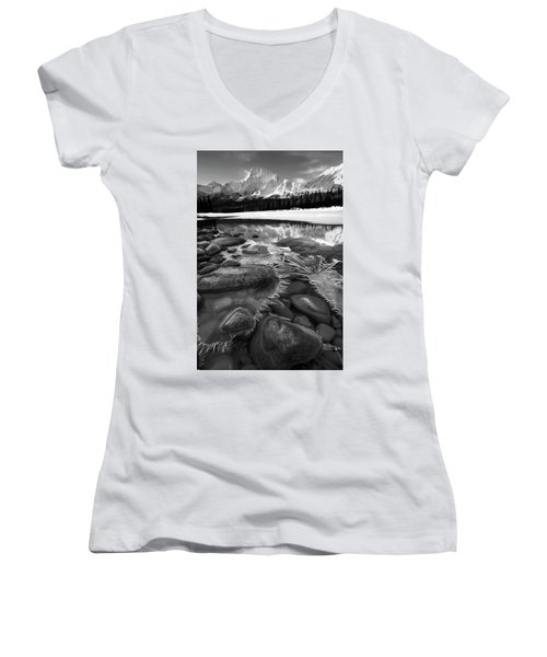 Ice On The Athabasca Women's V-Neck T-Shirt