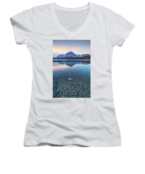 Icebergs And Mountains Of Torres Del Paine National Park Women's V-Neck T-Shirt (Junior Cut) by Phyllis Peterson
