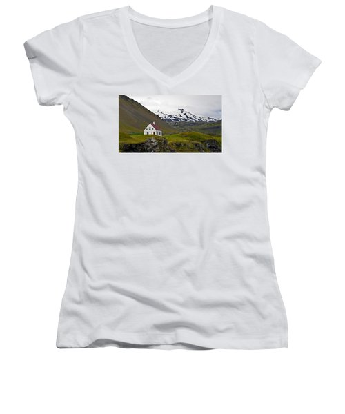 Women's V-Neck T-Shirt (Junior Cut) featuring the photograph Iceland House And Glacier by Joe Bonita