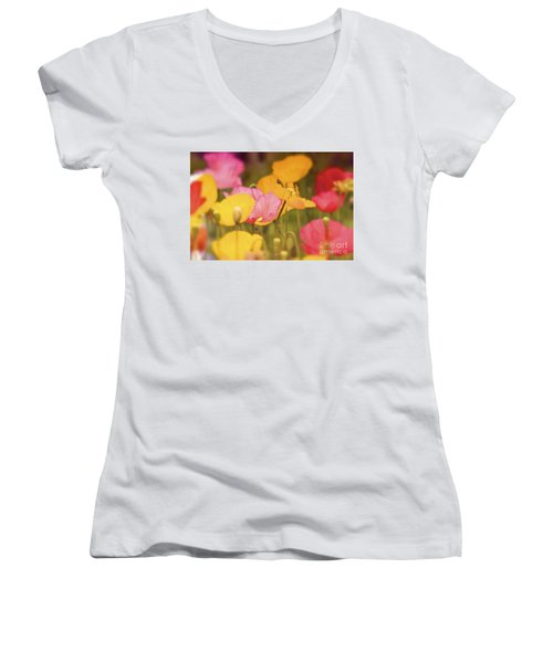 Iceland Poppies Warmly Women's V-Neck (Athletic Fit)