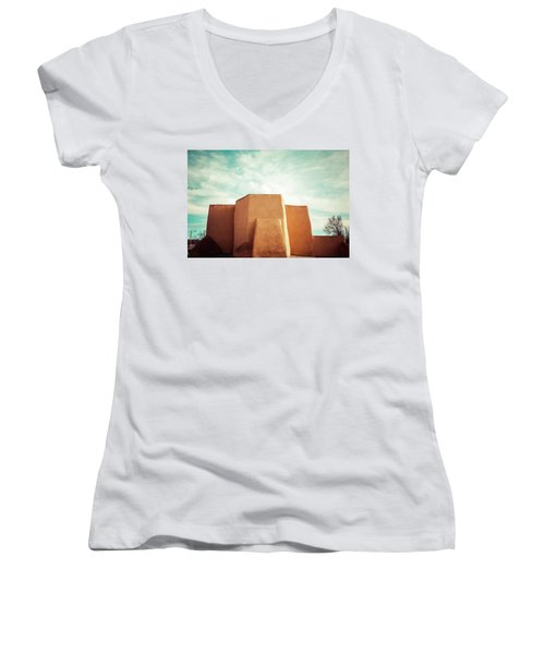 Women's V-Neck T-Shirt (Junior Cut) featuring the photograph Iconic Church In Taos by Marilyn Hunt