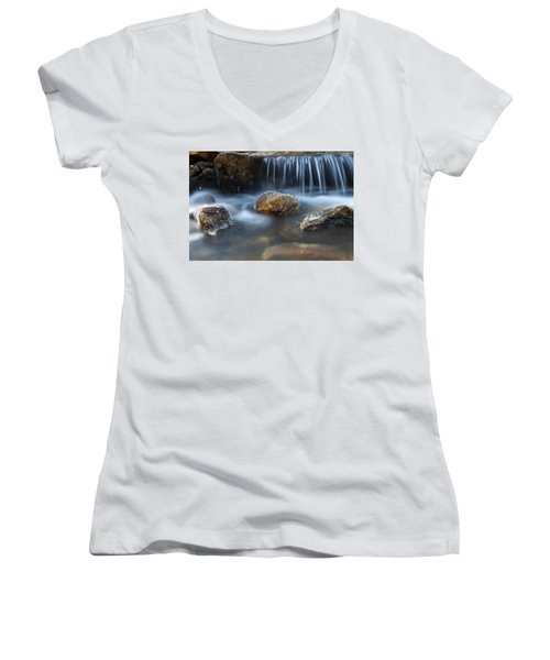 Icy Rocks On The Coxing Kill #1 Women's V-Neck T-Shirt (Junior Cut) by Jeff Severson