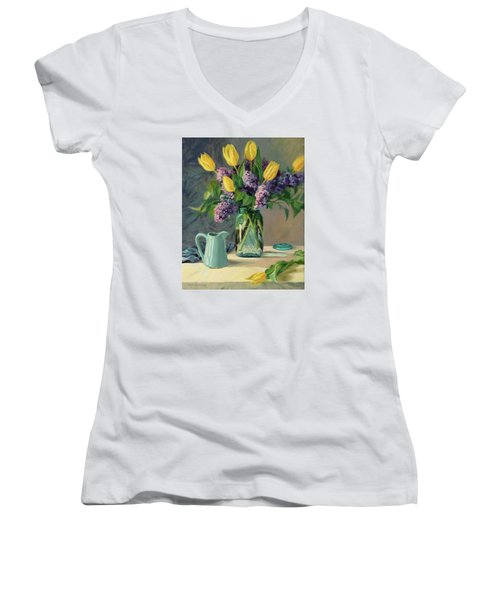 Ideal - Yellow Tulips And Lilacs In A Blue Mason Jar Women's V-Neck T-Shirt (Junior Cut) by Bonnie Mason