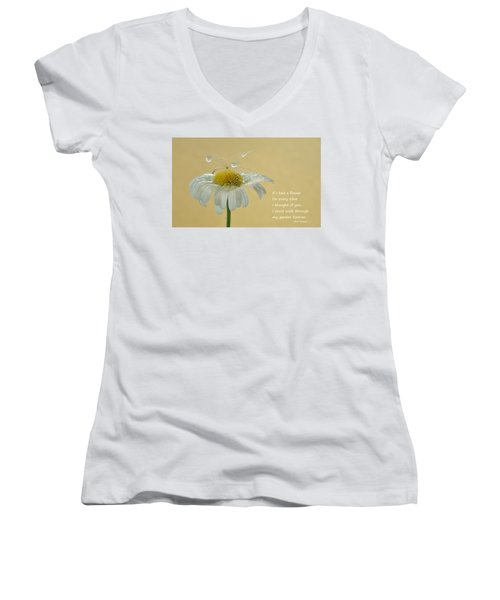 If I Had A Flower Quote Women's V-Neck T-Shirt (Junior Cut) by Barbara St Jean