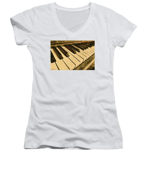 Women's V-Neck featuring the painting If Monet Played by Harry Warrick