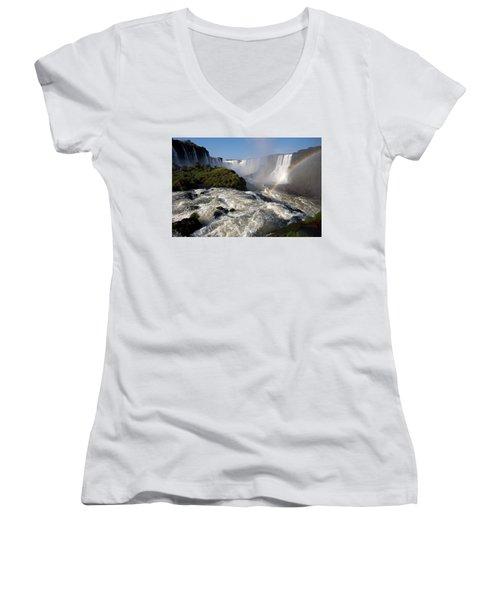 Iguassu Falls With Rainbow Women's V-Neck T-Shirt (Junior Cut) by Aivar Mikko
