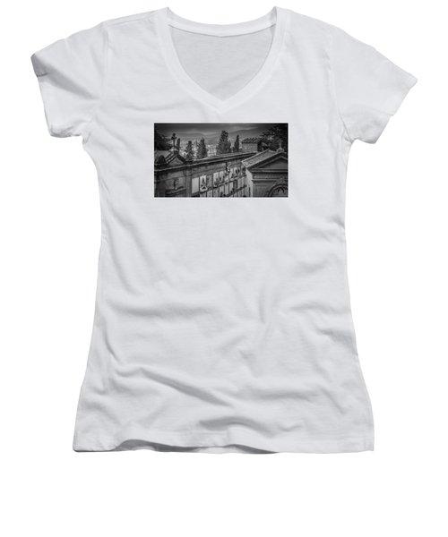 Women's V-Neck T-Shirt (Junior Cut) featuring the photograph Il Cimitero E Il Duomo by Sonny Marcyan