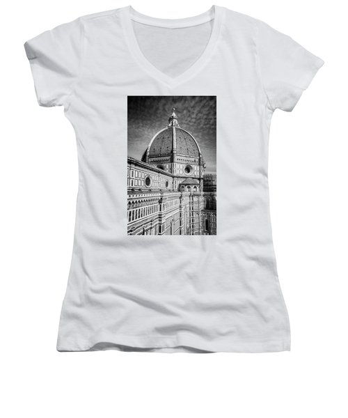 Women's V-Neck T-Shirt (Junior Cut) featuring the photograph Il Duomo Florence Italy Bw by Joan Carroll