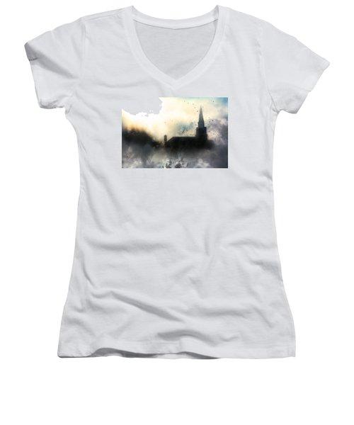 I'll Fly Away Women's V-Neck T-Shirt (Junior Cut) by Gray  Artus