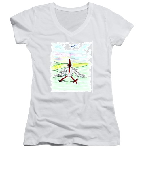 I'll Never Fly Again Women's V-Neck T-Shirt (Junior Cut)