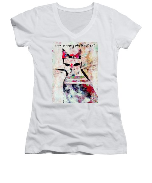 I'm A Very Abstract Cat Women's V-Neck T-Shirt (Junior Cut) by John Fish