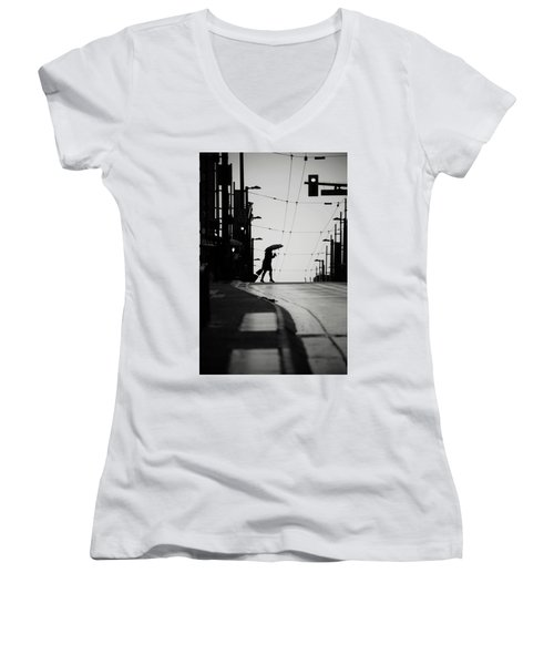 Women's V-Neck T-Shirt (Junior Cut) featuring the photograph Im Leaving But Never  by Empty Wall