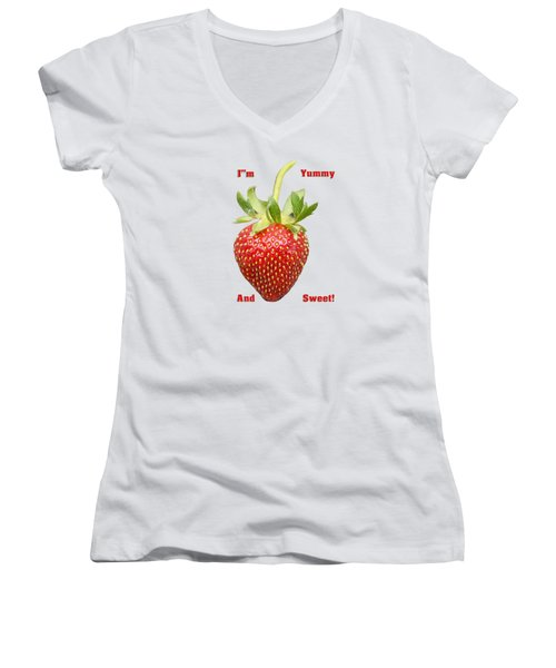 Im Yummy And Sweet Women's V-Neck T-Shirt (Junior Cut) by Thomas Young