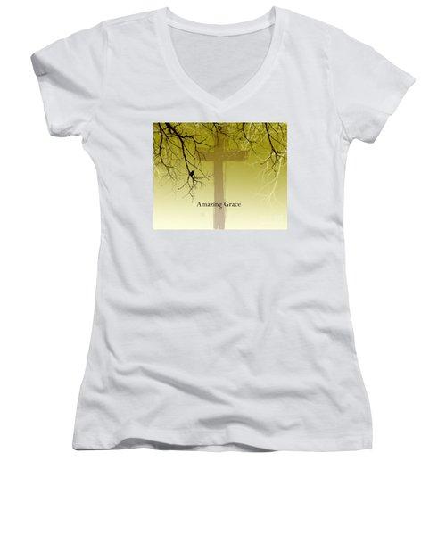 Immanuel- My Saviour Women's V-Neck T-Shirt (Junior Cut) by Trilby Cole