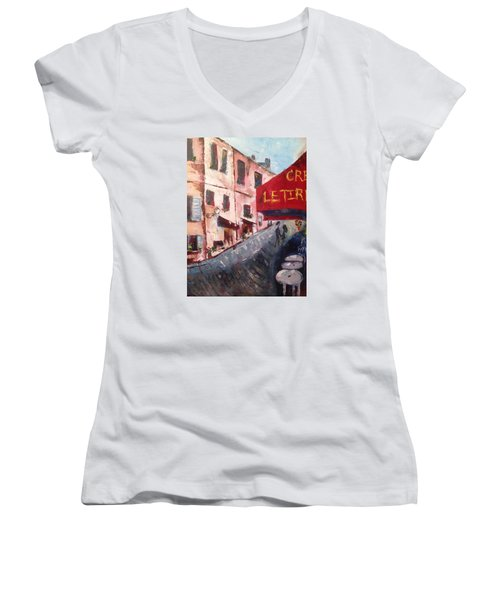 Impressions Of A French Cafe Women's V-Neck T-Shirt (Junior Cut) by Roxy Rich