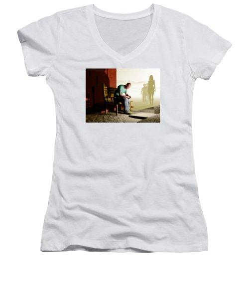 In A Fog Of Isolation Women's V-Neck T-Shirt (Junior Cut) by John Alexander