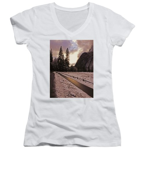 In Between Snow Falls Women's V-Neck T-Shirt (Junior Cut) by Walter Fahmy