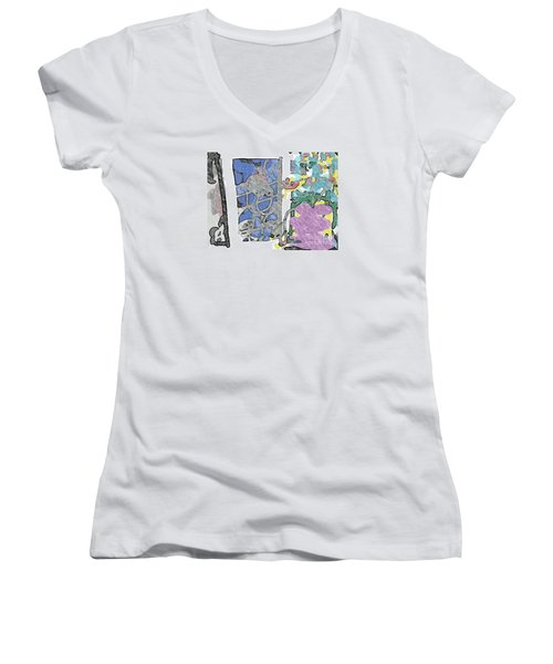 In Between Window And Flowers Women's V-Neck (Athletic Fit)