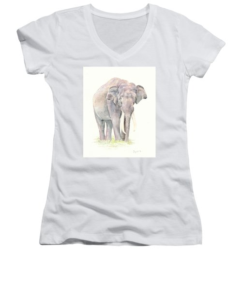 Women's V-Neck T-Shirt (Junior Cut) featuring the painting In Charge by Elizabeth Lock
