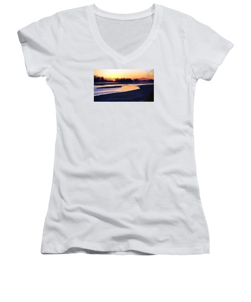 The Fraser River Women's V-Neck T-Shirt (Junior Cut) by Heather Vopni