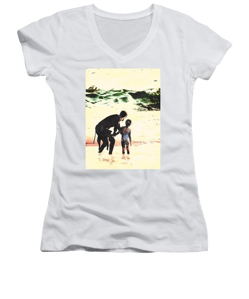In Daddy's Arms Women's V-Neck T-Shirt
