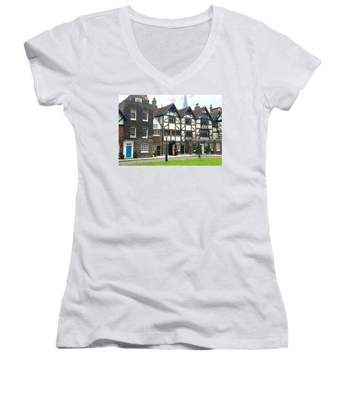 In London Women's V-Neck T-Shirt (Junior Cut) by Nancy Ann Healy