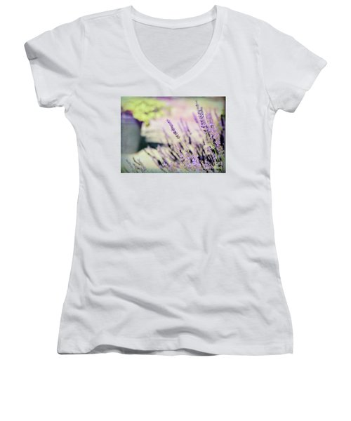 Women's V-Neck T-Shirt featuring the photograph In Love With Lavender by Kerri Farley