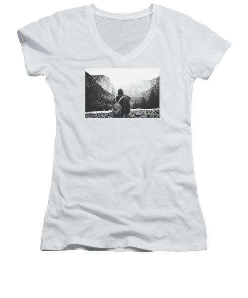 Yosemite Love Women's V-Neck T-Shirt (Junior Cut) by JR Photography
