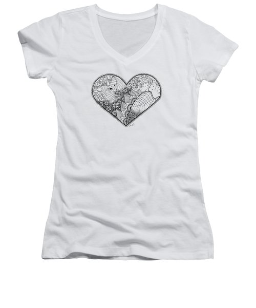 Women's V-Neck T-Shirt (Junior Cut) featuring the drawing In Motion by Ana V Ramirez