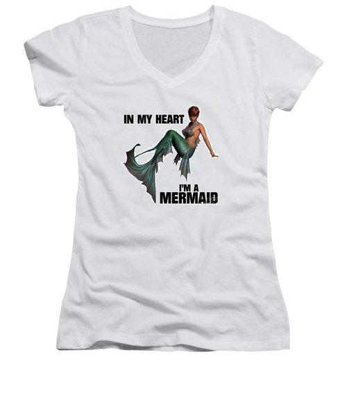 In My Heart I'm A Mermaid Women's V-Neck T-Shirt (Junior Cut) by Esoterica Art Agency
