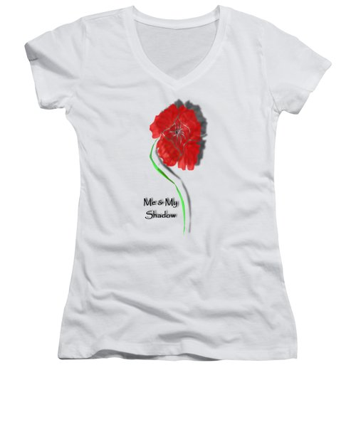 Women's V-Neck featuring the digital art In Remembrance Poppy by Barbara St Jean