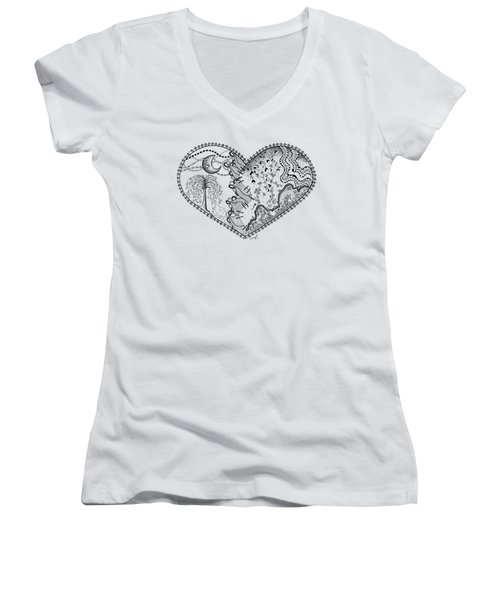 Women's V-Neck T-Shirt (Junior Cut) featuring the drawing Repaired Heart by Ana V Ramirez