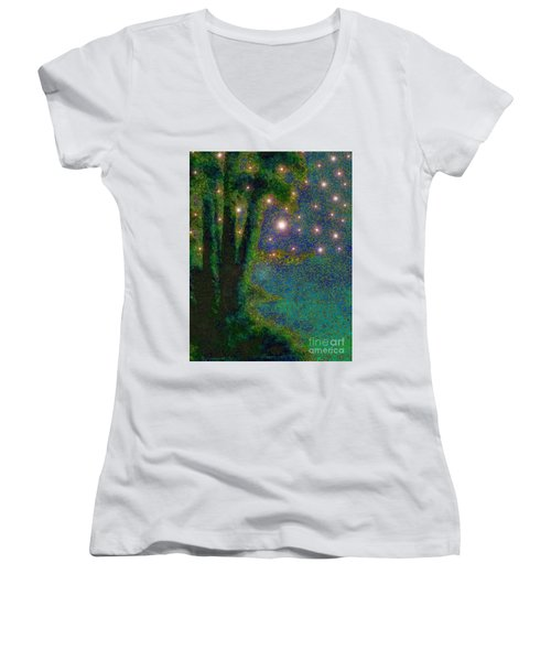 In The Beginning God... Women's V-Neck T-Shirt