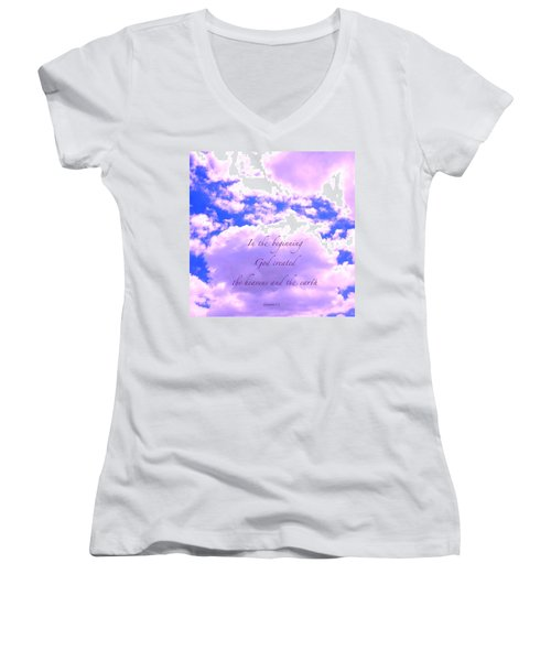 In The Beginning Women's V-Neck T-Shirt (Junior Cut) by Russell Keating