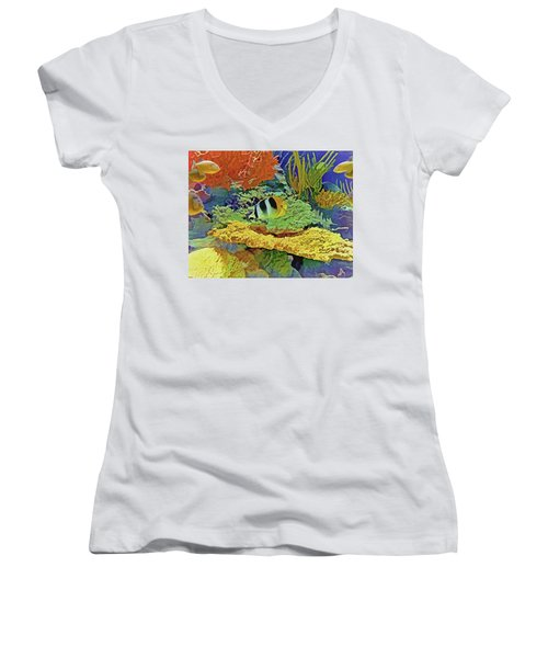 In The Coral Garden 10 Women's V-Neck