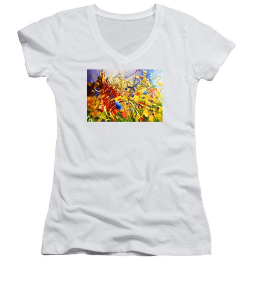 Women's V-Neck T-Shirt (Junior Cut) featuring the painting In The Meadow by Georg Douglas