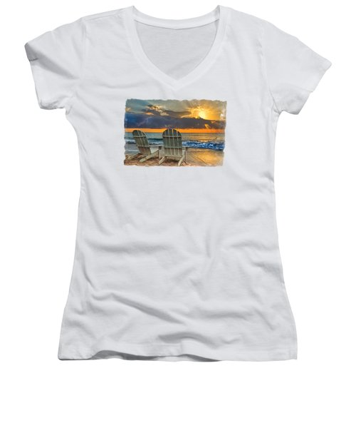 Women's V-Neck T-Shirt (Junior Cut) featuring the photograph In The Spotlight Bordered by Debra and Dave Vanderlaan